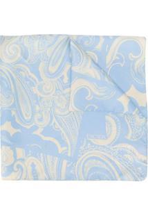 Escada Lenço De Seda Com Estampa Paisley - Azul