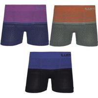 73e6fed6d Kit Cueca Boxer Lupo Microfibra Sem Costura 3 Peças - Masculino-Azul+Verde