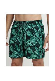 Short Masculino Estampado Folhagens Com Cadarço E Bolsos Verde