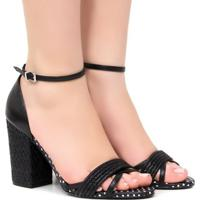 1f3f51c5e8 Sandália Zariff Shoes Salto Poá - Feminino-Preto