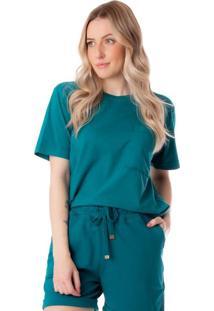 Camiseta Feminina Biamar Com Bolso Verde - U