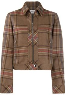 Lanvin Fitted Tartan Jacket - Marrom