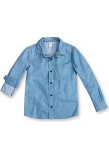 Camisa Jeans Infantil Menino Com Bolso Fontal Hering Kids