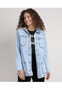 Jaqueta Jeans Feminina Longa Com Bolsos E Faixa Para Amarrar Azul Claro