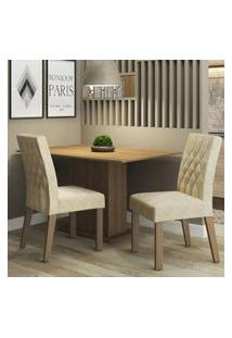 Conjunto Sala De Jantar Madesa Lia Mesa Tampo De Madeira Com 2 Cadeiras Rustic/Imperial