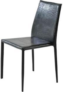Cadeira Amanda Crocco 6606 Em Metal Pvc Preto - 32870