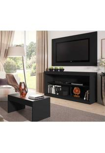 Rack C/Painel Tv Até 47 Pol Mesa Centro Inovare Multimóveis Preto Acetinado
