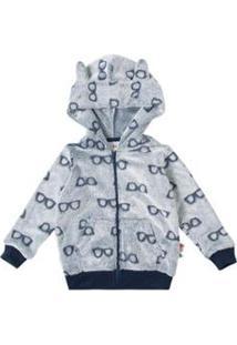 Jaqueta Infantil Com Capuz Em Fleece Zig Zig Zaa Masculina - Masculino-Azul Escuro