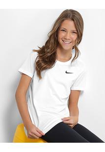 Camiseta Infantil Nike G Np Cl Top - Feminino-Branco+Preto