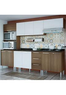 Cozinha Bianca 0430T 11 Portas C/ Tampo – Genialflex - Castanho / Branco