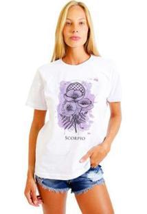 Camiseta Joss Feminina Estampada Signo Scorpio - Feminino-Branco