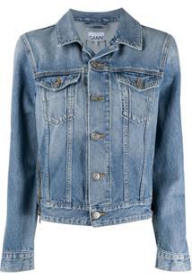Ganni Jaqueta Jeans Com Zíper - Azul