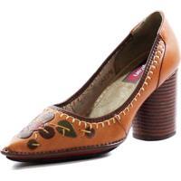21be2a2fd Sapato Couro J. Gean Vintage Retrô Bordados Caramelo