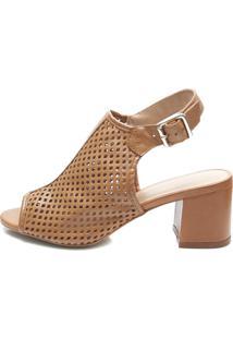 c242d1a70 Sandália Ankle Boot Pattini Em Couro Texturizado Caramelo