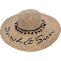d3c145dce1 Chapéu De Praia Bali Beach Detalhes Com Pompom Marrom