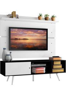 Rack Madesa Cairo E Painel Para Tv Atã© 65 Polegadas Com Pã©S De Madeira - Preto/Branco/Branco Preto - Preto - Dafiti
