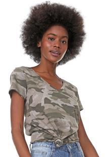 Camiseta Aeropostale Camuflada Bege/Verde