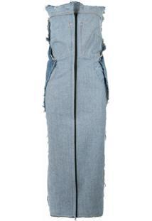 Litkovskaya Vestido Jeans Com Barra Desfiada - Azul