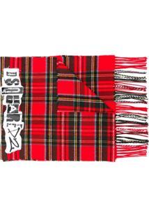 Dsquared2 Cachecol Xadrez Com Patch De Logo - Vermelho