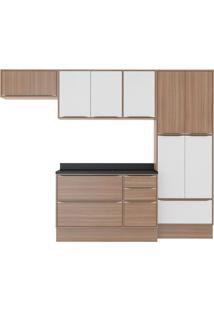 Cozinha Compacta Simge 11 Pt 3 Gv Branco E Nogueira