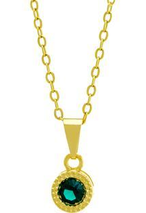Gargantilha Horus Import Ponto Luz Redondo Verde Esmeralda Banhada Ouro Amarelo 18 K - 1061107