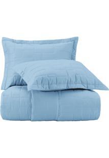 Jogo De Colcha Solteiro Altenburg Essence 200 Fios 100% Algodão Fleurs - Azul Azul