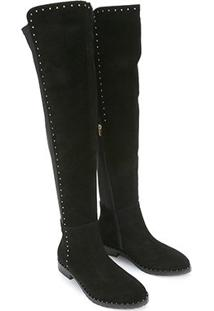 Bota Couro Over The Knee Shoestock Flat Feminina - Feminino