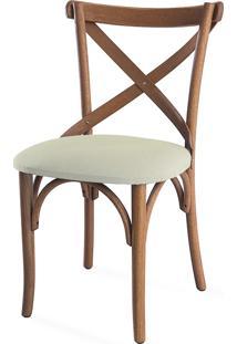 Cadeira Para Cozinha Estofada Madeleine - Stain Jatobá - Tec.924 Off White - 50X54,5X86 Cm