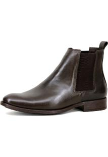 Bota Chelsea Masculina Mr Shoes Em Couro Café - Kanui