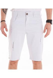 Bermuda Sarja California Prime Bolso Redondo Puido Branco - Kanui