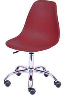 Cadeira Eames Com Rodizio Polipropileno Vinho - 43040 - Sun House