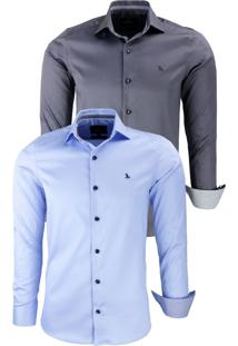 Kit 2 Camisas Social Amil Acetinado Com Elastano 1641 Azul Bebê/Chumbo - Kanui