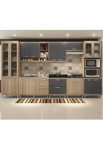Cozinha Completa 17 Portas 5 Gavetas Sicilia 5806 Argila/Grafite Premium - Multimóveis