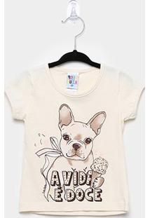 Blusa Infantil Pulla Bulla Cotton Dog Feminina - Feminino-Creme