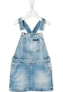Calvin Klein Kids Vestido Jardineira Jeans - Azul