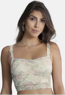 Top Cropped Em Renda Perle Duloren - Feminino-Creme