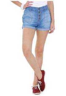 Short Juvenil Jeans Botões Barra Dobrada Marisa