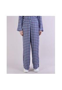 Calça De Pijama Feminina Mindset Estampada Xadrez Com Bolsos Azul