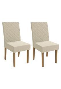 Conjunto C/ 2 Cadeiras Kappesberg 2Cad133Fr-A019 Estofada D20 Freijó/Bege