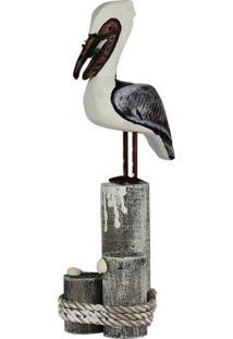 Enfeite Kasa Ideia Pelicano Em Madeira
