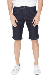 Bermuda Jeans Rock&Soda Reta Pespontos Azul-Marinho