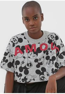Camiseta Cropped Colcci Disney Mickey Famous Cinza - Cinza - Feminino - Algodã£O - Dafiti