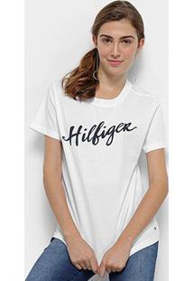Camiseta Tommy Hilfiger Feminino Viola Feminino - Feminino-Branco