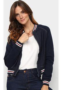 Jaqueta Jeans Pink Listras Feminina - Feminino-Azul
