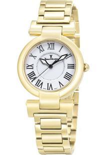 Relógio Analógico Jv01065- Dourado & Branco- Jean Vejean Vernier