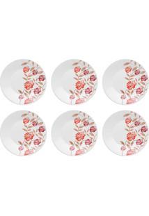 6 Pratos De Sobremesa 19 Cm Vermelho Amor 008020 Biona