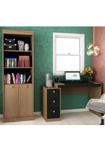 Escrivaninha E Estante Com 2 Portas E 3 Gavetas Para Escritório-Ho-2956-Hecol - Avela / Onix