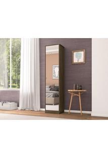 Sapateira 1 Porta Com Espelho Reflex Ébano - Lc Móveis