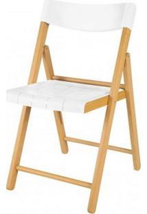 Cadeira Potenza Dobravel Natural Com Plastico Branco - 20566 - Sun House