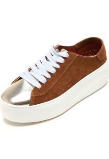 Tênis Flatform Dafiti Shoes Recortes Marrom